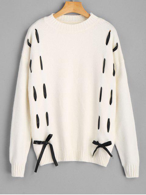 Pullover mit Selbstbindung ,Schleifedetail und Drop Schulter - Beige (Weis) Eine Größe Mobile