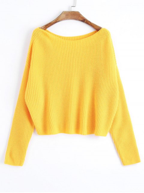 ladies Oversized One Shoulder Pullover Sweater - YELLOW ONE SIZE Mobile