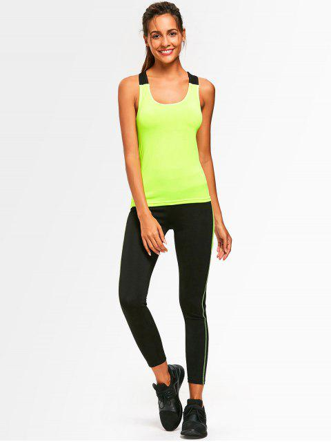 online Cross Back Two Tone Gym Suit - NEON GREEN ONE SIZE Mobile