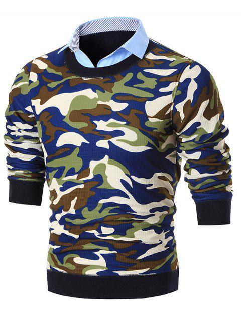 Pull Faux Deux Pièces Imprimé Camouflage à Col Chemise - Bleu 3XL Mobile