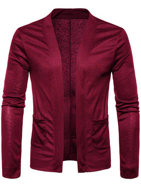 best Open Front Knitted Drape Cardigan - WINE RED M Mobile