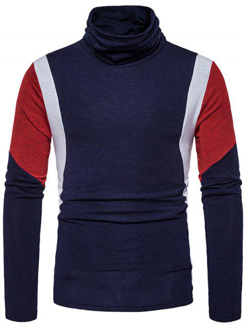 Schildkröte Hals Slim Fit Farbblock Panel Strickpullover - Cadetblue L Mobile