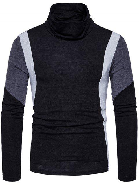 fancy Turtle Neck Slim Fit Color Block Panel Knitted Sweater - BLACK L Mobile