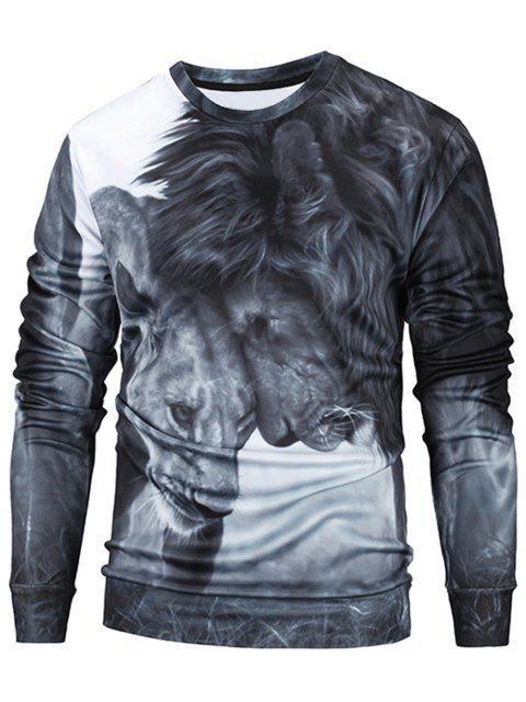 Lions 3D Print Pullover Männer Kleidung - Grau XL Mobile