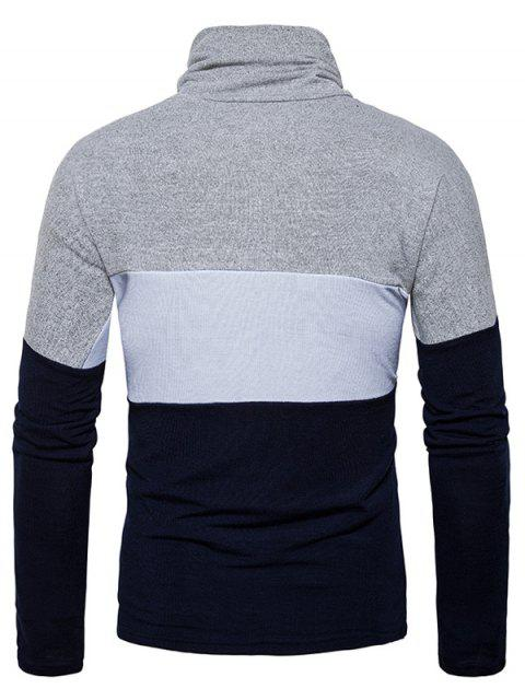 sale Turtle Neck Slim Fit Color Block Knitted Sweater - CADETBLUE XL Mobile