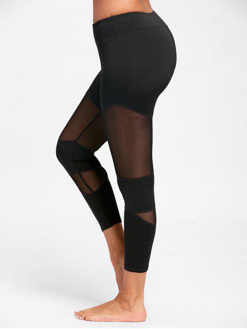 chic Sheer Workout  Leggings with Mesh Panel - BLACK XL Mobile