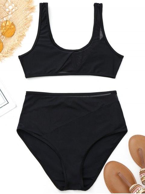 Bikini de deporte de cintura alta con inserción de malla - Negro S Mobile