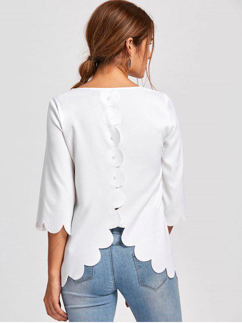 Bluse mit Muschel Saum und Knopf Detail - Weiß L Mobile