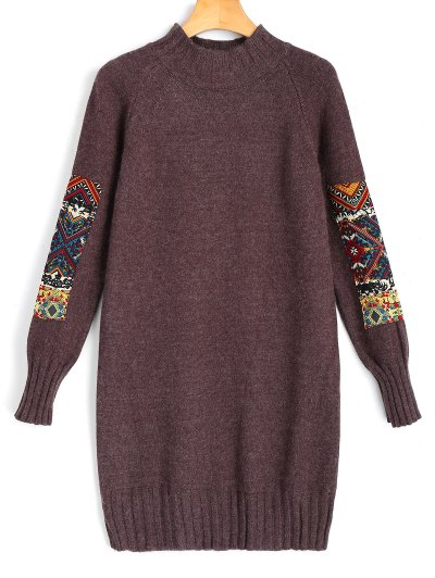 Long Sleeve Jacquard Sweater Mini Dress - Brown