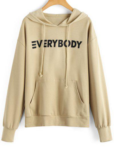 Contrasting Letter Hoodie With Pocket - Apricot Xl