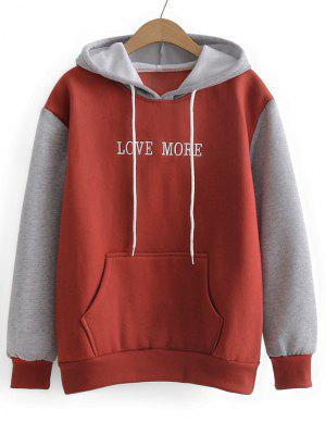Contrasting Drawstring Letter Embroidered Hoodie - Red