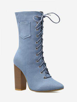 Denim High Heel Mid Calf Boots