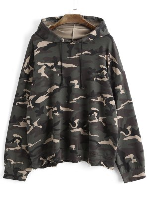 Drawstring Oversized Camouflage Hoodie