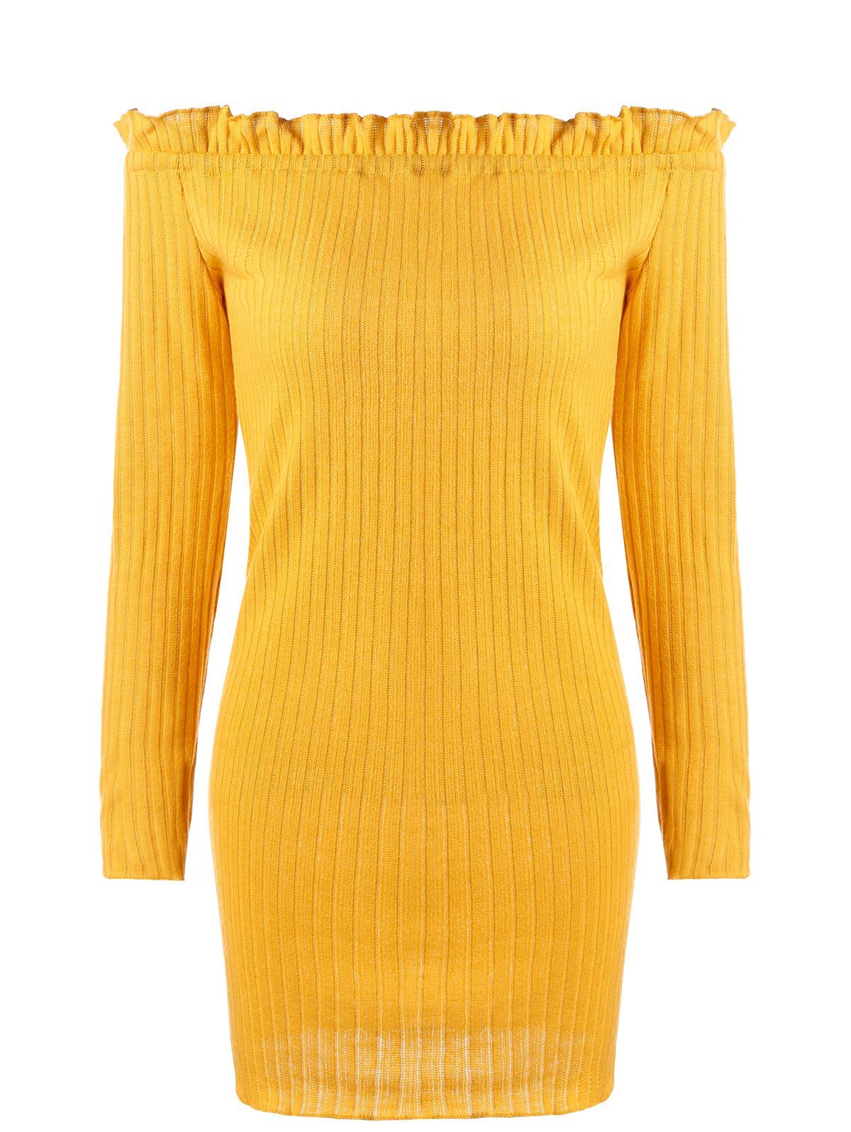 Off The Shoulder Ribbed Knit Dress 231012104