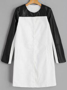 Bouton Pression Manteau En Faux Cuir - Blanc S