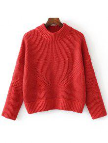 Sheer Mock Neck Sweater Sweater - Rojo