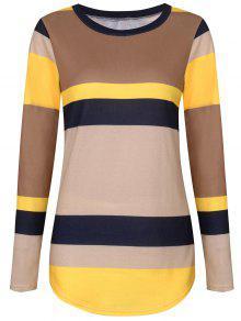 Sequine Patch Color Block Camiseta De Manga Larga - Amarillo Xl
