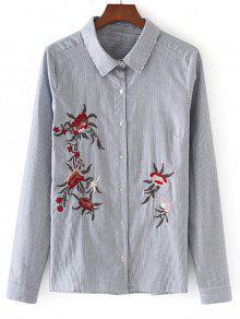 Botton Down Stripes Camisa Bordada - Listras S
