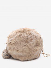 سلسلة فو الفراء بومبوم حقيبة كروسبودي - كاكي