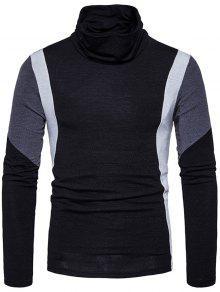 Cuello De Tortuga Slim Fit Color Block Panel Sweater De Punto - Negro S