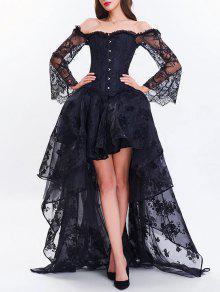 عالية منخفضة اثنين من قطعة فستان مشد - أسود 2xl
