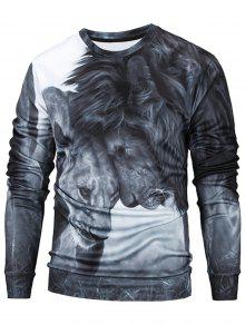 Gris Sudadera Print Neck Lions Crew M 3D qWg7w6ZS