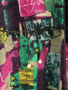 Vestito Lungo Stampa Graffiti Con Maniche Lunghe E Cintura
