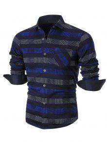 كولوربلوكد قميص طويل الأكمام فحص - أزرق 3xl
