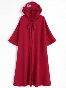 Casaco Com Capuz Floral Com Bolsos Laterais - Vermelho