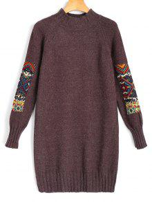 Mini-robe à Manches Longues En Jacquard - Brun