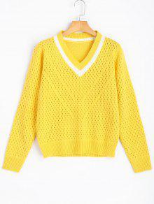 Sheer Contrasting V Cuello Jersey Suéter - Amarillo