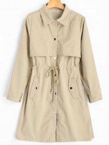 معطف الخندق بلون واحد مشد الخصر تصميم زر - كاكي L
