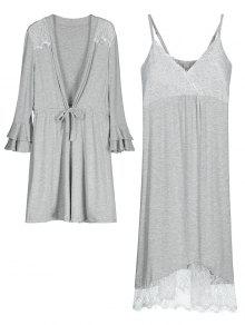 Vestido Cami De Loungewear Com Kimono - Cinza M