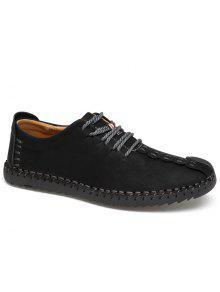 الدانتيل يصل الأحذية عارضة - أسود 42