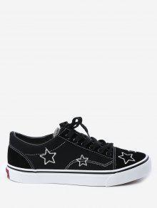 التطريز قماش نجوم أحذية تزلج - أسود 39