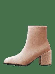 ... Side Zip Rhinestone Chunky Heel Ankle Boots ...