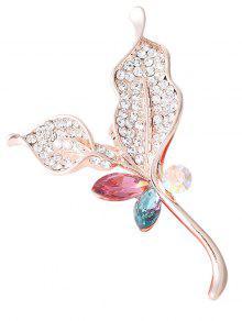 Hoja De Diamantes De Imitación De Cristal Broche Chispeante