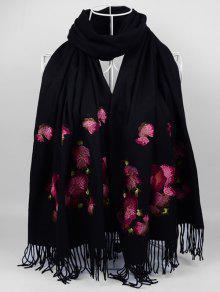الأزهار التطريز إيثينك نمط مهدب وشاح - أسود
