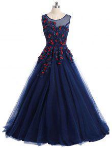 الزهور زين شبكة تراكب أكمام فستان سهرة - الأرجواني الأزرق M