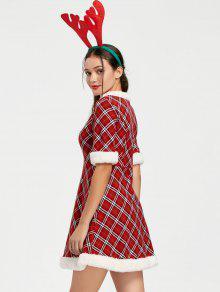 ugly christmas plaid faux fur dress - Christmas Plaid Dress