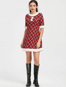 e05190ef3cd1b 27% OFF] 2019 Ugly Christmas Plaid Faux Fur Dress In RED | ZAFUL