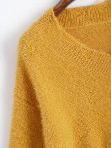 3344e2c19 36% OFF  2019 V Neck Destroyed Pullover Sweater In YELLOW