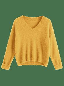 V Neck Destroyed Pullover Sweater YELLOW Sweaters ONE SIZE | ZAFUL