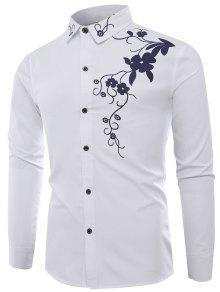 تنورة طوق الزهور طباعة قميص كم طويل - أبيض 2xl