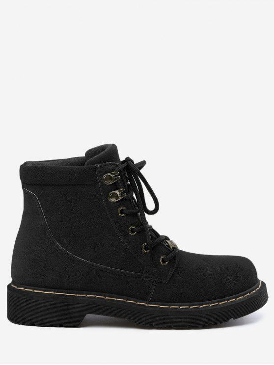 Lace Up Ankle Boots - Black - 39