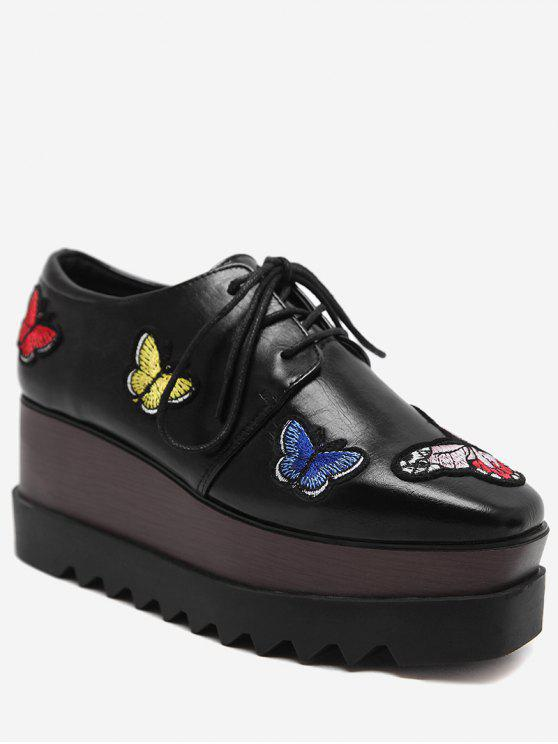 women's Butterfly Embroidery Faux Leather Wedge Shoes - BLACK 38