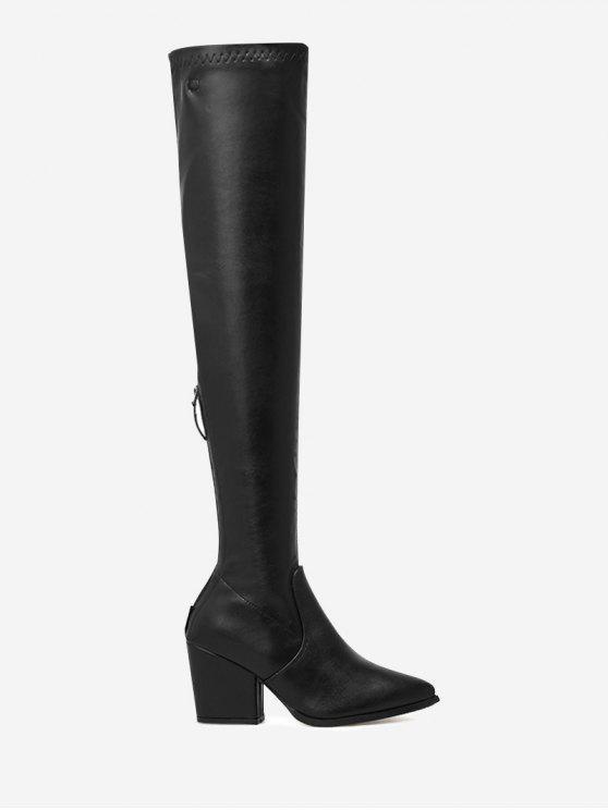 حذاء يصل فوق الركبة من الجلد المزيف ذو كعب عريض - أسود 39