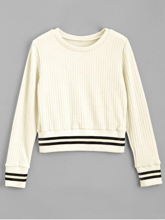 affordable Fitting Stripes Panel Sweater - WHITE S