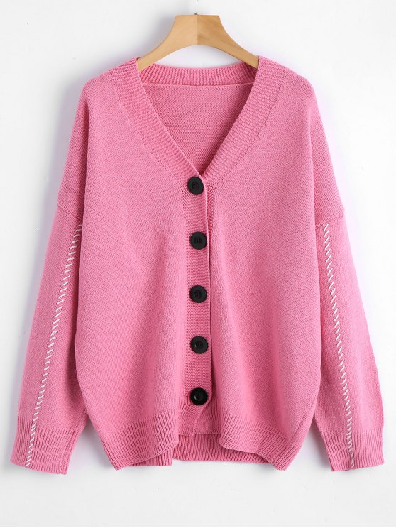 Contrast V Neck Button Up Cardigan PINK: Sweaters ONE SIZE | ZAFUL