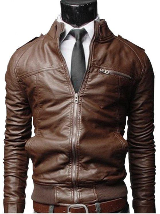 894f30f1f89 35% OFF  2019 Faux Leather Zip Up Mens Biker Jacket In BROWN